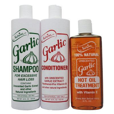 Nutrine Garlic Shampoo & Conditioner Unscented 16 Oz + Hot Oil Treatment 8 Oz