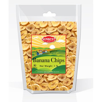SUNBEST Banana Chips Sweetened (1 Lb) in Resealable Bag (16 Oz)