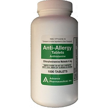 Major Pharmaceuticals Chlorpheniramine Maleate 4 mg Anti-Allergy Tablets, 1000 Count