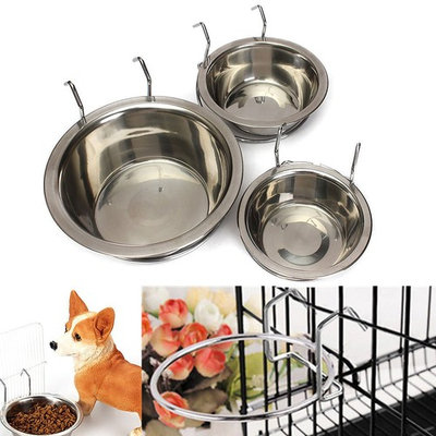 Yosoo Stainless Steel Hook on Feeding Dog Bowl Pet Rabbit Bird Cat Dog Food Water Cage Cup Crate Cup with Clamp Holder(L)