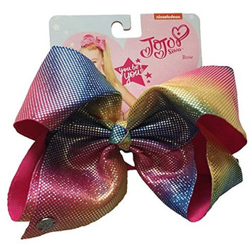 JoJo Siwa Signature Collection Hair Bow - Rainbow with Silver Iridescent Dots