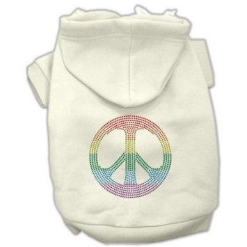 Mirage Pet Products Rhinestone Rainbow Peace Sign Hoodies, Size 16, Cream