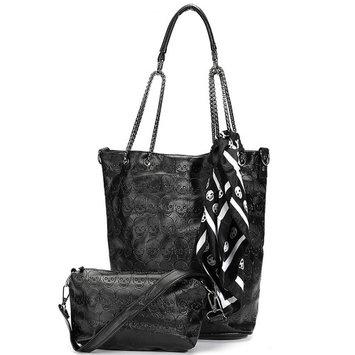 Women Black Punk Skull Handbag 2 Pieces Shoulder Bag Satchel Messenger Bag