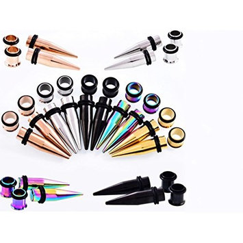 Healthcom 20PCS Ear Stretching Kit 1.6mm Plugs Tapers Surgical Steel Gauges Set Body Piecing Jewelry,Mix Color