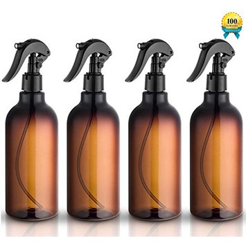 Spray Bottles, 16oz Plastic Spray Bottles with Black Fine Mist Sprayers Refillable Container for Essential Oils, Cleaning, Kitchen, Garden, Hair by Household Sprayer(4 pack)