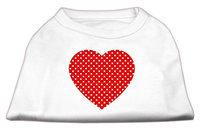 Mirage Pet Products 51-103 XSWT Red Swiss Dot Heart Screen Print Shirt White XS - 8