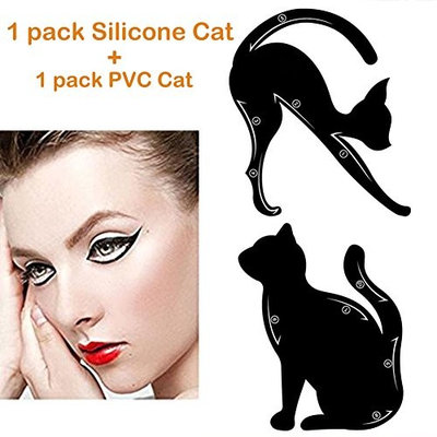 Megaie 2 in 1 Reusable Cat Line Eyeliner Stencil Smoky Eye Shadow Eay Makeup Applicators Template Plate Professional Eye Makeup Card Tools 2 Pack( Silicone & PVC material)