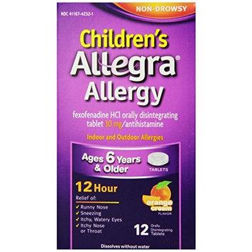Allegra Children's 12 Hr Allergy Relief, Orange Cream Flavored, 12 Each