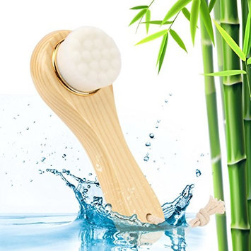 Facial Cleansing Brush Manual Spa Wash Massage Exfoliation Brush With Wooden Long Handle(Ivory)
