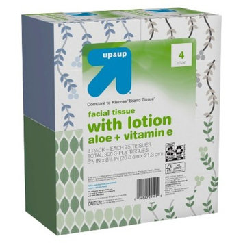 Facial Tissue with Lotion - 75ct - 4pk - Up&Up™ (Compare to Kleenex® Brand Tissue)