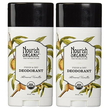 Nourish Organics Almond Vanilla Deodorant Stick (Pack of 2) With Aloe Vera, Coconut Oil, Vitamin E and Shea Butter, 2 oz Each