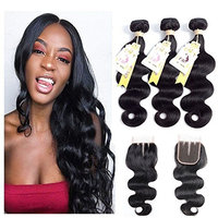 Brazilain Remy Hair With Lace Closure Body Wave Human Hair Bundles 7A Brazilian Hair Extension Natural Color (16 18 20 + 14, Three Part Closure)