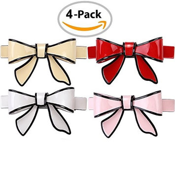 LONEEDY 4 Pcs Bowknot Large Barrette Accessories For Girls,Bright Hair Butterfly Style No-slip Hair Clips For Women