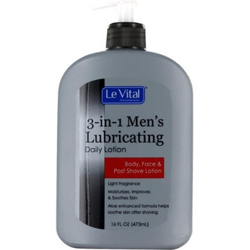 Le Vital 2122779 3-in-1 Mens Lubricating Daily Lotion for Body Face & Post Shave Lotion - Case of 12