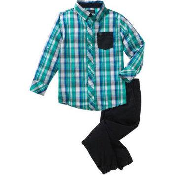 Blac Label Boys 2 Piece Yarn-Dye Long Sleeve Woven Shirt & Twill Jogger Pants Set