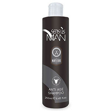 Sensus Man ITALIAN ANTI-AGE SHAMPOO, remove the yellowish color of the gray hairs. For Natural or Colored White Hair, Clean & Neutralizes Any Yellow Tones. 250 ml/8.45 oz. Made in Italy