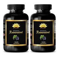 Brain supplement - PURE RESVERATROL SUPPLEMENT 1200 mg - Resveratrol vitamins - 2 Bottles 120 Capsules