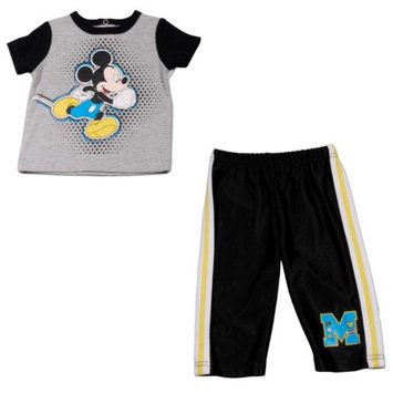 Disney Baby Infant Boys 2pc Running Mickey Mouse Shirt & Tricot Pant Set 0-3m