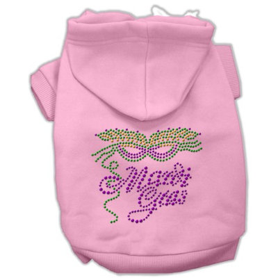 Mirage Pet Products 5447 SMPK Mardi Gras Rhinestud Hoodies Pink S 10