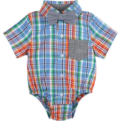born Baby Boys' Blue and Orang Plaid Shirt Bodysuit with Chambray Bowtie