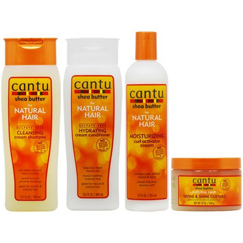 Cantu Shea Butter Cleansing Shampoo + Conditioner + Activator Cream + Custard 'Set' (Pack of 4)