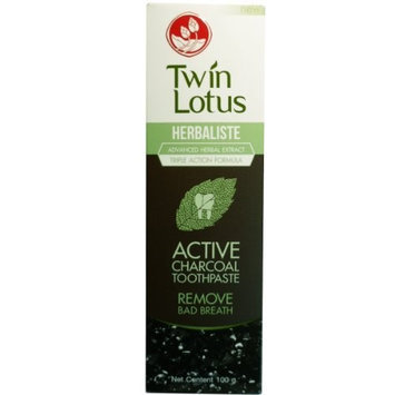 TWIN LOTUS ACTIVE CHARCOAL TOOTHPASTE HERBALISTE Triple Action 100G (3.52 OZ) x 2 tubes