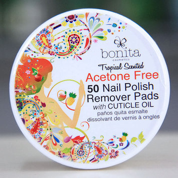 Acetone Free 50 Nail Polish Remover Pads with Cuticle Oil, Tropical Scented, Bonita Cosmetics