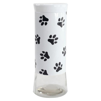 Houseware International Glass Jar With White Sleeves Background and Black Paws - 64 oz