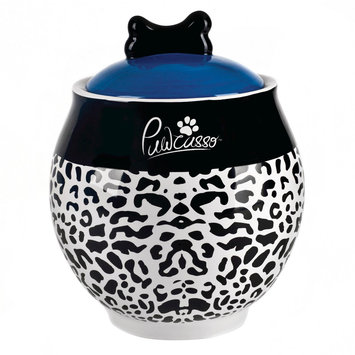 Housewares International 9 Pawcasso Pet Jar with Cheetah Design, White