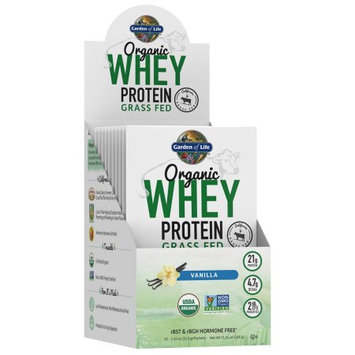 Garden of Life Organic Whey Protein Grass Fed Packets, Vanilla, 10 Ct