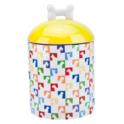 Housewares International 10 Akc Pet Canister Multi-Colored Dog Silhouette, White