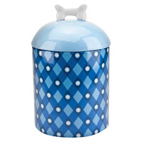 Housewares International 10 Akc Pet Canister with Blue Plaid and Logo and Blue with White Bone Lid