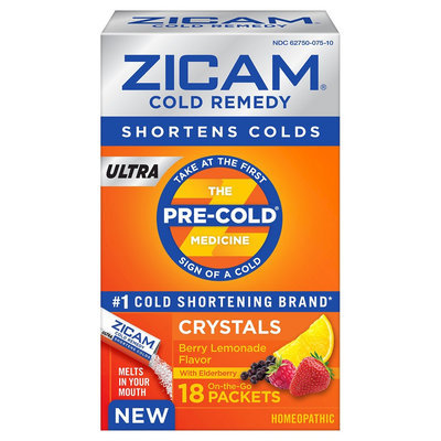 Zicam Ultra Berry Lemonade Cold Remedy Homeopathic Crystals - 18 Count