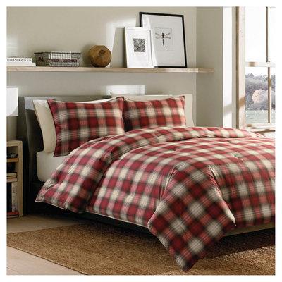 Eddie Bauer Navigation Plaid Comforter Mini Set - Red (Full/Queen)
