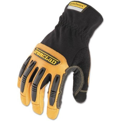 Ironclad Ranchworx Leather Gloves, Black/Tan, X-Large