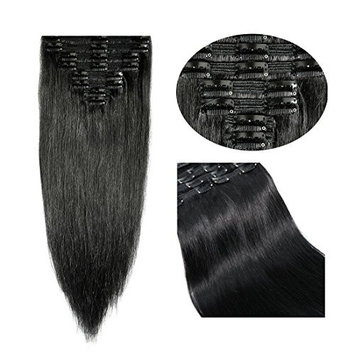 Double Weft 100% Remy Human Hair Clip in Extensions Grade 7A Quality 14''-22'' Full Head Thick Long Soft Silky Straight 8pcs 18clips for Women Fashion (16