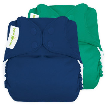 bum Genius Freetime All-In-One Snap Reusable Diaper (2 Pack) - Assorted Colors, Hummingbird/Stellar