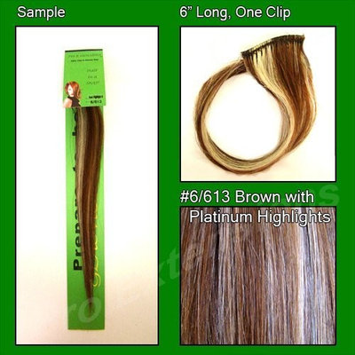 #6/613 Brown with Platinum Highlights, 6 Inch Sample of Clip on in Human Hair Extensions Set: Health & Personal Care