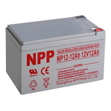 NPP 12V 12 Amp NP12 12Ah Rechargeable Sealed Lead Acid Battery F2 Style Terminals