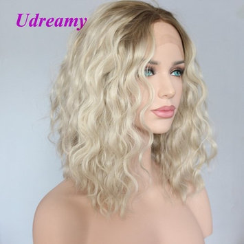 Udreamy Fashion Short Bob Curly Lace Front Wigs Light green Roots To Ombre Blonde Synthetic Hair Wigs Half Hand Tied Glueless Heat Resistant Hair Replacement Wigs for White Women
