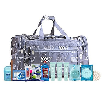 Maternity Hospital Labor Duffle Bag, Pre-packed Toiletry Bag - Whale Grey