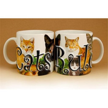 Attractive Cute Cats Rule Ceramic Mug With Embossed Lettering