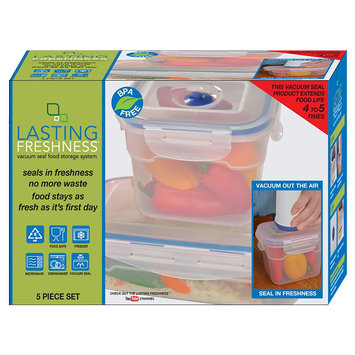 Lasting Freshness Vacuum Seal Food Storage System Set Rectangular 5pc, Light Clear