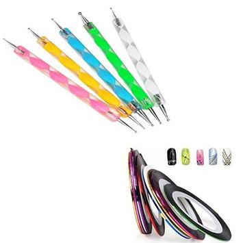 5 X 2 Way Marbleizing Dotting Pen Set for Nail Art Manicure Pedicure Decoration Styling + Nail Tape Stripe Decoration Sticker Hologram, Set of 10 Bundle AOSTEK(TM)