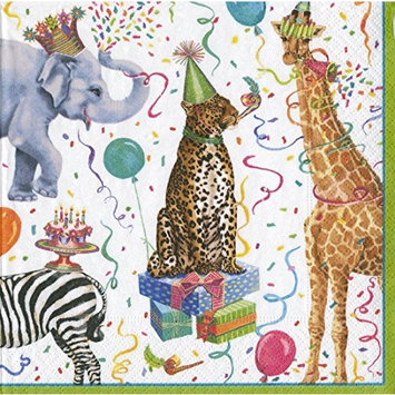 Entertaining with Caspari Cocktail Napkin, Party Animals, Multicolor, Box of 40