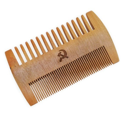 WOODEN ACCESSORIES CO Wooden Beard Combs With Soviet Design - Laser Engraved Beard Comb- Double Sided Mustache Comb