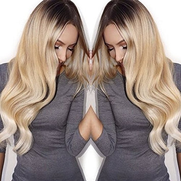 NiceToBuy Glueless #2/#24 Brown to Natural Blonde Ombre Color Wavy Lace Front Wig Brazilian Virgin Human Hair Wigs for Women 12 inches