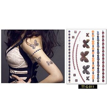 Auch 2 Sheets Arm Temporary Tattoos, Temporary Tattoos Stickers for Women & Girls, Sexy Body Tattoo Sticker
