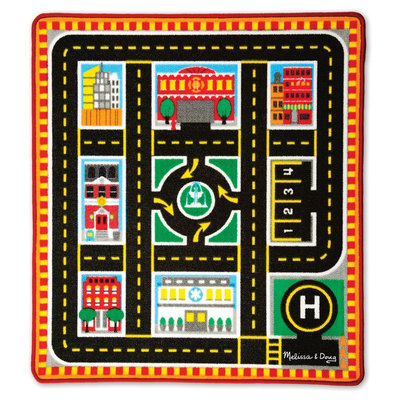 Melissa & Doug Round The City Rescue Rug With 4 Wooden Vehicles (39 x 36 inches)