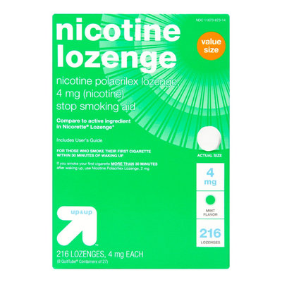 Nicotine 4mg Mint Stop Smoking Lozenge -216 ct - up & up